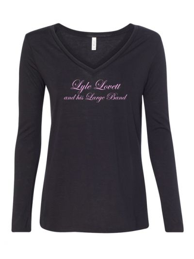 Lyle Lovett and his Large Band Script Logo Ladies V-Neck Long Sleeve T-Shirt